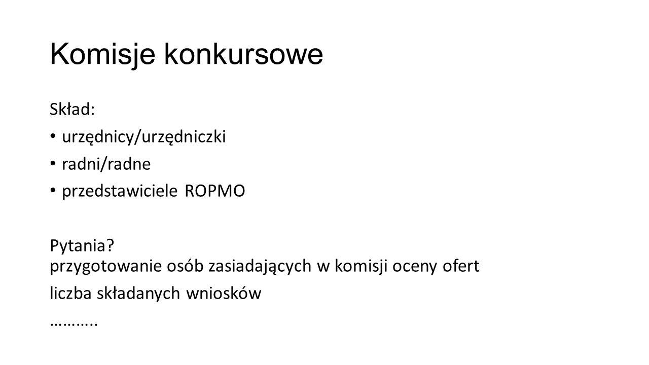 Komisje konkursowe Skład: urzędnicy/urzędniczki radni/radne przedstawiciele ROPMO Pytania.