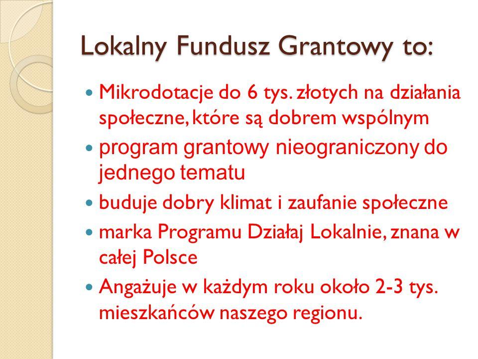 Lokalny Fundusz Grantowy to: Mikrodotacje do 6 tys.