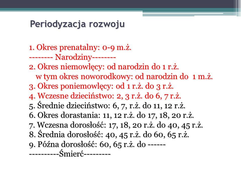 Periodyzacja rozwoju 1.Okres prenatalny: 0-9 m.ż.