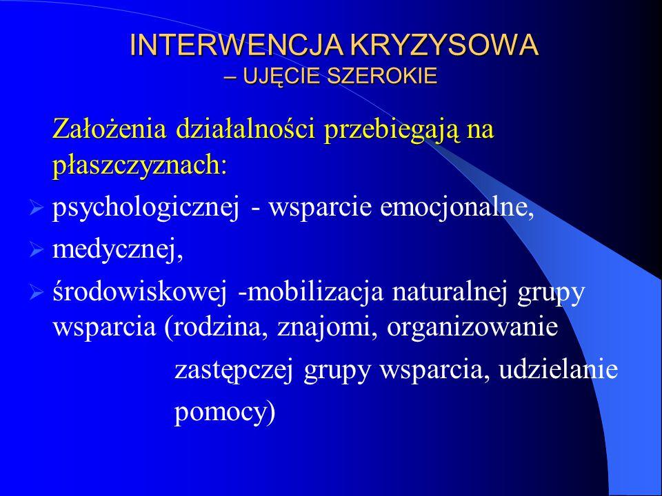 INTERWENCJA KRYZYSOWA – UJĘCIE SZEROKIE INTERWENCJA KRYZYSOWA – UJĘCIE SZEROKIE Założenia działalności przebiegają na płaszczyznach:  psychologicznej
