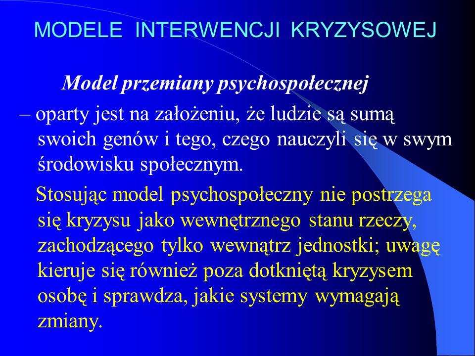 MODELE INTERWENCJI KRYZYSOWEJ Model przemiany psychospołecznej – oparty jest na założeniu, że ludzie są sumą swoich genów i tego, czego nauczyli się w