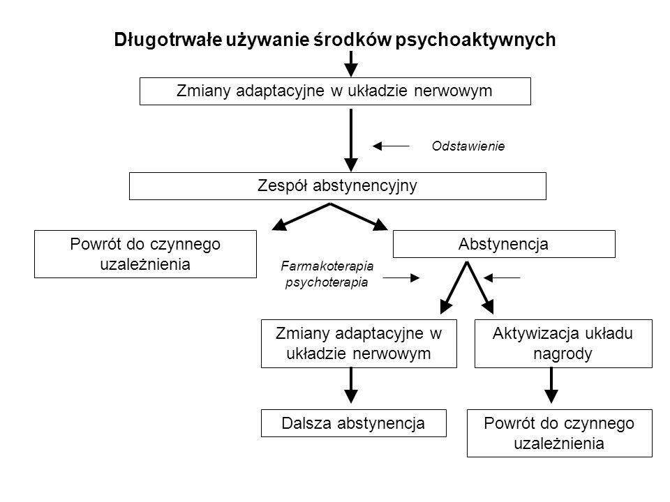 Długotrwałe używanie środków psychoaktywnych Zmiany adaptacyjne w układzie nerwowym Zespół abstynencyjny Abstynencja Zmiany adaptacyjne w układzie ner