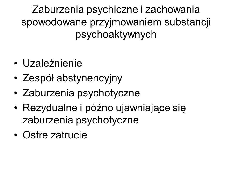 Zaburzenia psychiczne i zachowania spowodowane przyjmowaniem substancji psychoaktywnych Uzależnienie Zespół abstynencyjny Zaburzenia psychotyczne Rezy