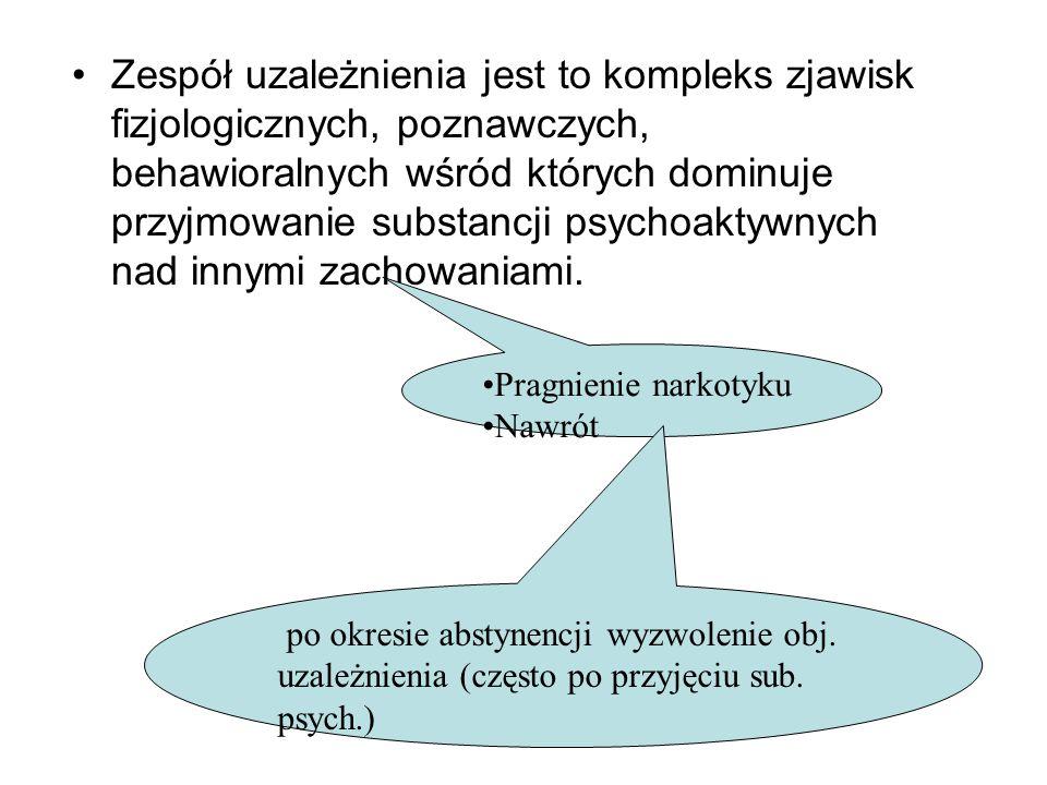 Zespół uzależnienia jest to kompleks zjawisk fizjologicznych, poznawczych, behawioralnych wśród których dominuje przyjmowanie substancji psychoaktywny
