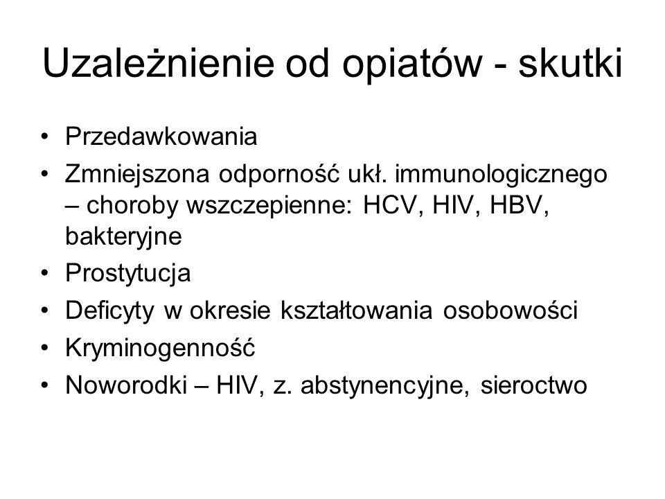 Uzależnienie od opiatów - skutki Przedawkowania Zmniejszona odporność ukł. immunologicznego – choroby wszczepienne: HCV, HIV, HBV, bakteryjne Prostytu