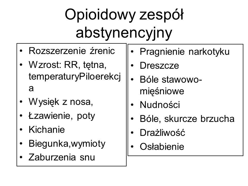 Opioidowy zespół abstynencyjny Rozszerzenie źrenic Wzrost: RR, tętna, temperaturyPiloerekcj a Wysięk z nosa, Łzawienie, poty Kichanie Biegunka,wymioty