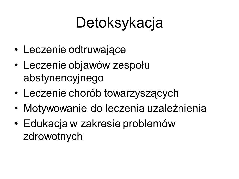 Detoksykacja Leczenie odtruwające Leczenie objawów zespołu abstynencyjnego Leczenie chorób towarzyszących Motywowanie do leczenia uzależnienia Edukacj
