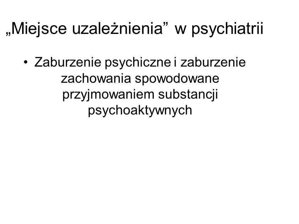 """""""Miejsce uzależnienia"""" w psychiatrii Zaburzenie psychiczne i zaburzenie zachowania spowodowane przyjmowaniem substancji psychoaktywnych"""