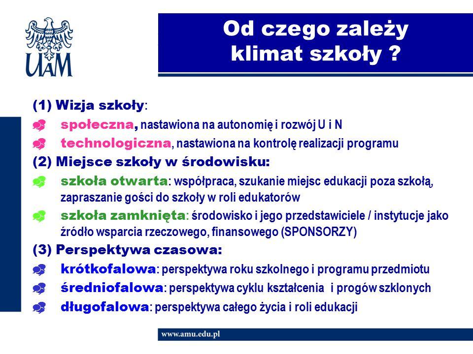 Od czego zależy klimat szkoły ? (1) Wizja szkoły :  społeczna, nastawiona na autonomię i rozwój U i N  technologiczna, nastawiona na kontrolę realiz