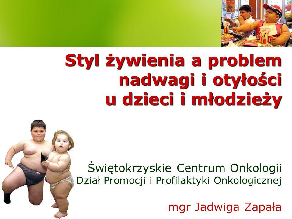 Nadwaga i otyłość u dzieci i młodzieży Na świecie 10% dzieci i młodzieży do 18 roku życia ma nadwagę lub otyłość W Europie około 20% dzieci ma nadmiar masy ciała, w tym 5% cierpi na otyłość W Polsce około 12% dzieci i młodzieży ma nadwagę, bądź otyłość