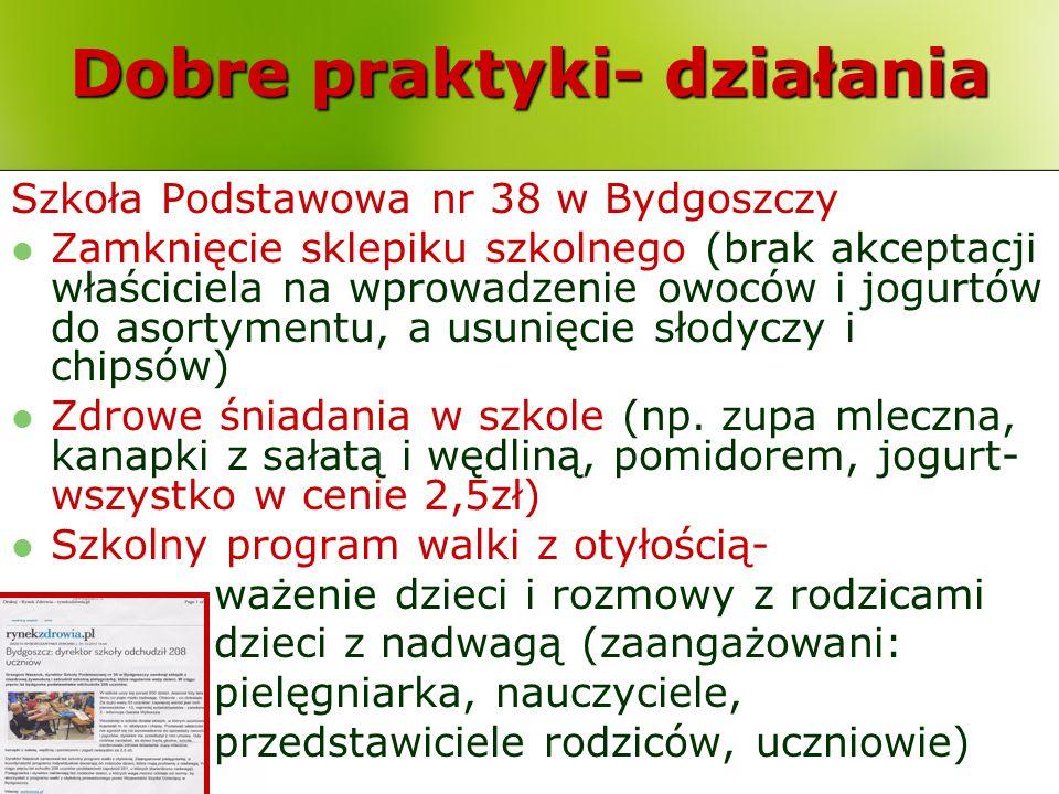 Dobre praktyki- działania Szkoła Podstawowa nr 38 w Bydgoszczy Zamknięcie sklepiku szkolnego (brak akceptacji właściciela na wprowadzenie owoców i jog