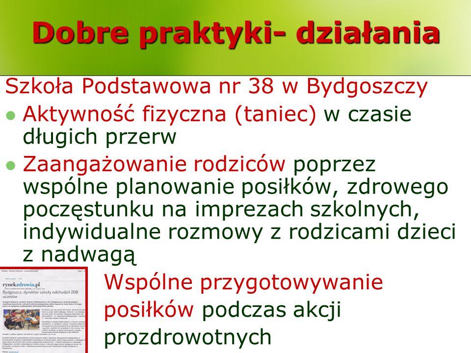 Dobre praktyki- działania Szkoła Podstawowa nr 38 w Bydgoszczy Aktywność fizyczna (taniec) w czasie długich przerw Zaangażowanie rodziców poprzez wspó
