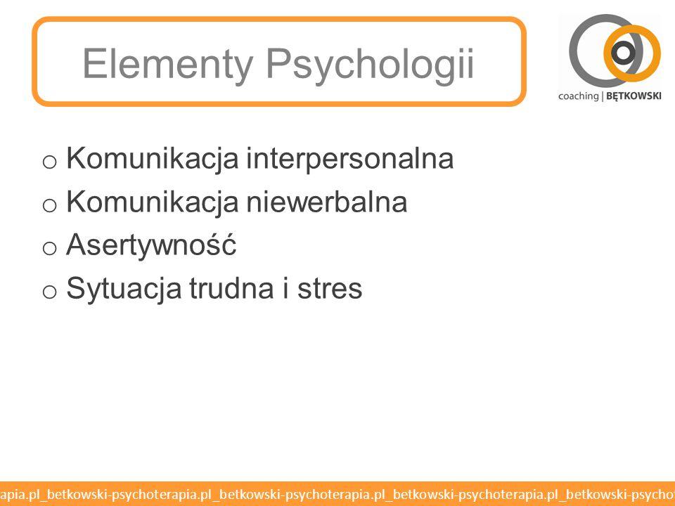 ASERTYWNOŚĆ Elementy Psychologii – Kurs Kwalifikacyjny