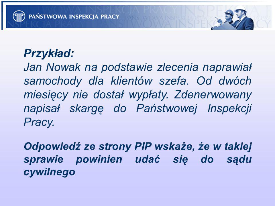 Przykład: Jan Nowak na podstawie zlecenia naprawiał samochody dla klientów szefa. Od dwóch miesięcy nie dostał wypłaty. Zdenerwowany napisał skargę do