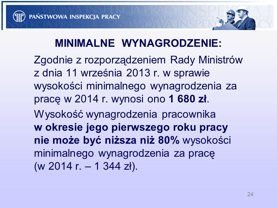 MINIMALNE WYNAGRODZENIE: Zgodnie z rozporządzeniem Rady Ministrów z dnia 11 września 2013 r. w sprawie wysokości minimalnego wynagrodzenia za pracę w