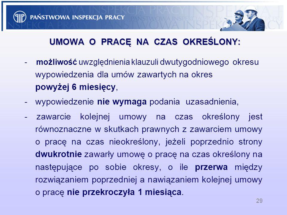 29 UMOWA O PRACĘ NA CZAS OKREŚLONY: - możliwość uwzględnienia klauzuli dwutygodniowego okresu wypowiedzenia dla umów zawartych na okres powyżej 6 miesięcy, -wypowiedzenie nie wymaga podania uzasadnienia, - zawarcie kolejnej umowy na czas określony jest równoznaczne w skutkach prawnych z zawarciem umowy o pracę na czas nieokreślony, jeżeli poprzednio strony dwukrotnie zawarły umowę o pracę na czas określony na następujące po sobie okresy, o ile przerwa między rozwiązaniem poprzedniej a nawiązaniem kolejnej umowy o pracę nie przekroczyła 1 miesiąca..