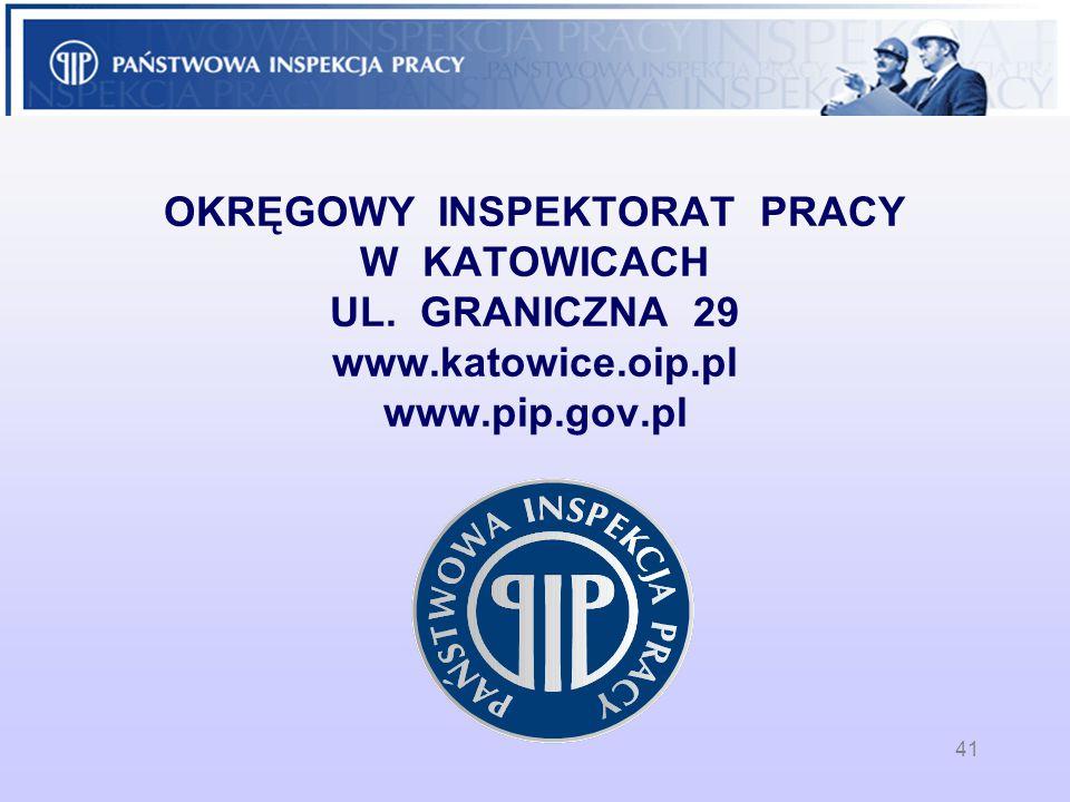 OKRĘGOWY INSPEKTORAT PRACY W KATOWICACH UL. GRANICZNA 29 www.katowice.oip.pl www.pip.gov.pl 41