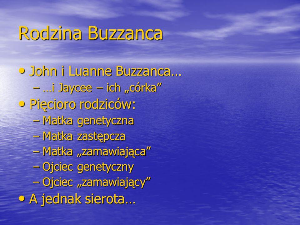 """Rodzina Buzzanca John i Luanne Buzzanca… John i Luanne Buzzanca… –…i Jaycee – ich """"córka"""" Pięcioro rodziców: Pięcioro rodziców: –Matka genetyczna –Mat"""