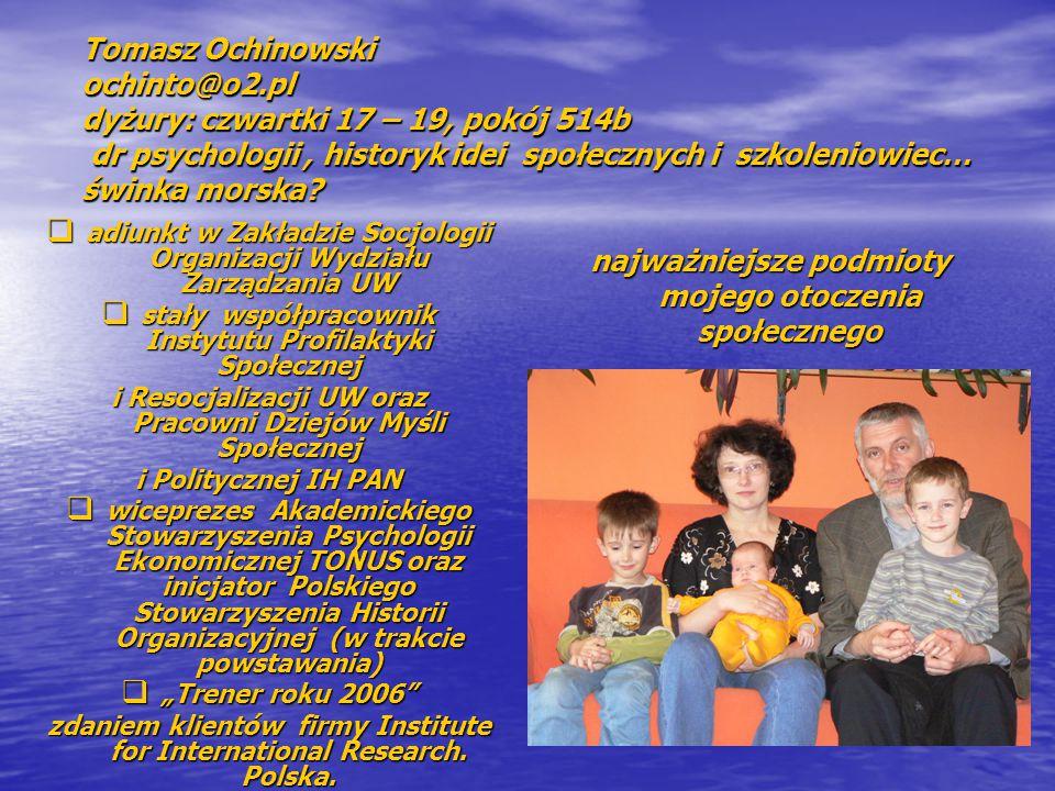 Tomasz Ochinowski ochinto@o2.pl dyżury: czwartki 17 – 19, pokój 514b dr psychologii, historyk idei społecznych i szkoleniowiec… świnka morska?  adiun