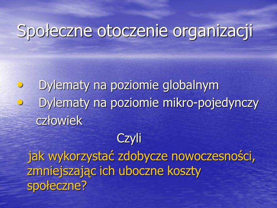 Społeczne otoczenie organizacji Dylematy na poziomie globalnym Dylematy na poziomie globalnym Dylematy na poziomie mikro-pojedynczy Dylematy na poziom