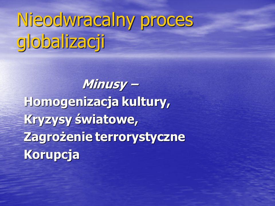Nieodwracalny proces globalizacji Minusy − Minusy − Homogenizacja kultury, Homogenizacja kultury, Kryzysy światowe, Kryzysy światowe, Zagrożenie terro