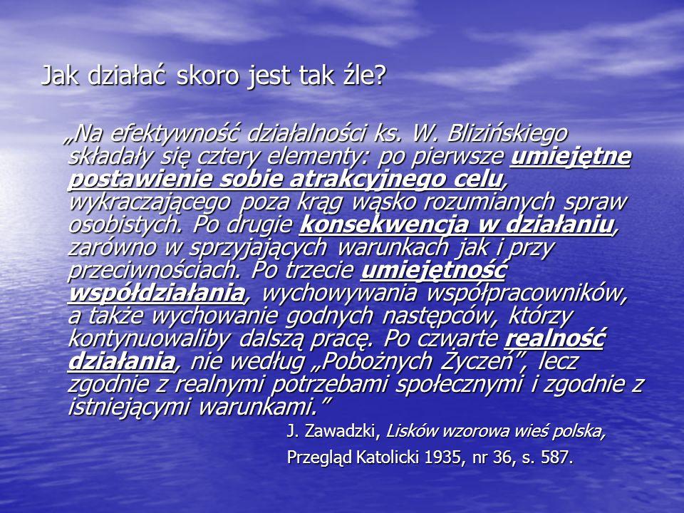 """Jak działać skoro jest tak źle? """"Na efektywność działalności ks. W. Blizińskiego składały się cztery elementy: po pierwsze umiejętne postawienie sobie"""