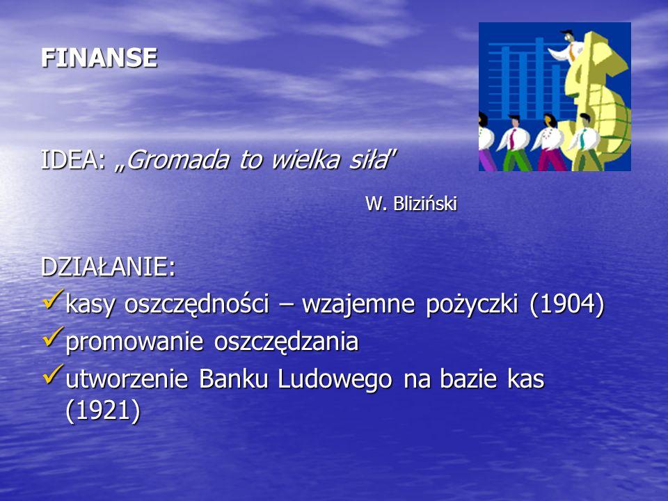 """FINANSE IDEA: """"Gromada to wielka siła"""" W. Bliziński W. BlizińskiDZIAŁANIE: kasy oszczędności – wzajemne pożyczki (1904) kasy oszczędności – wzajemne p"""