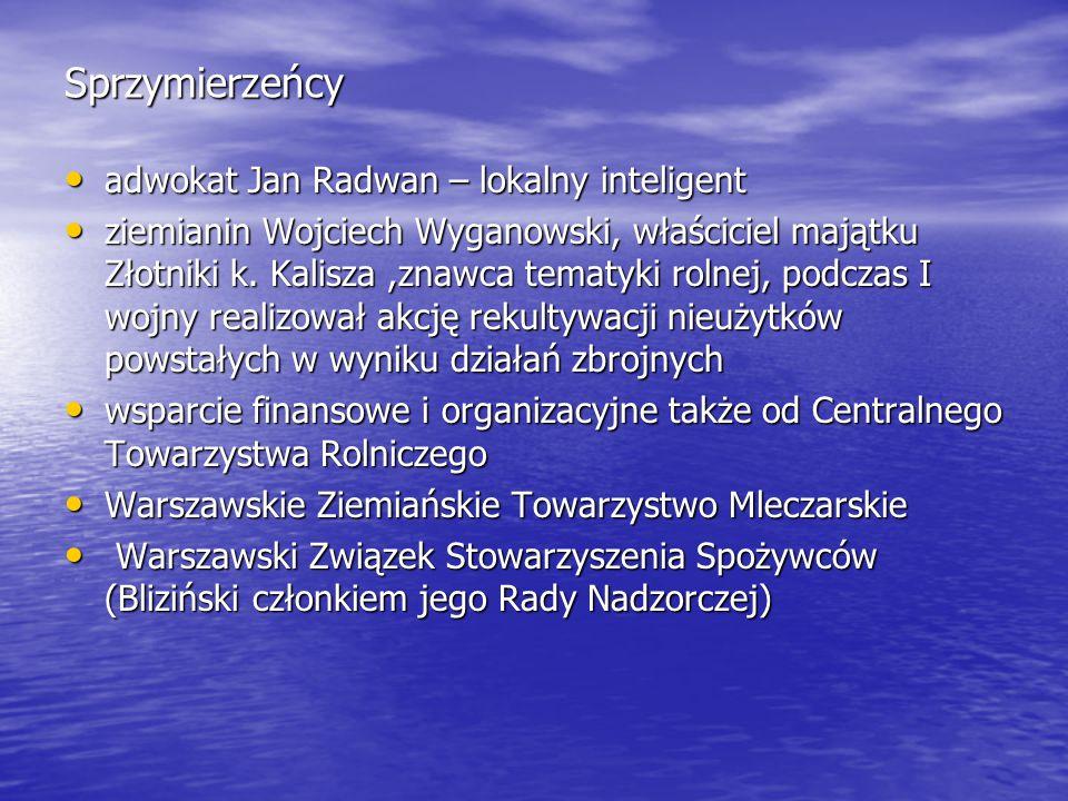 Sprzymierzeńcy adwokat Jan Radwan – lokalny inteligent adwokat Jan Radwan – lokalny inteligent ziemianin Wojciech Wyganowski, właściciel majątku Złotn