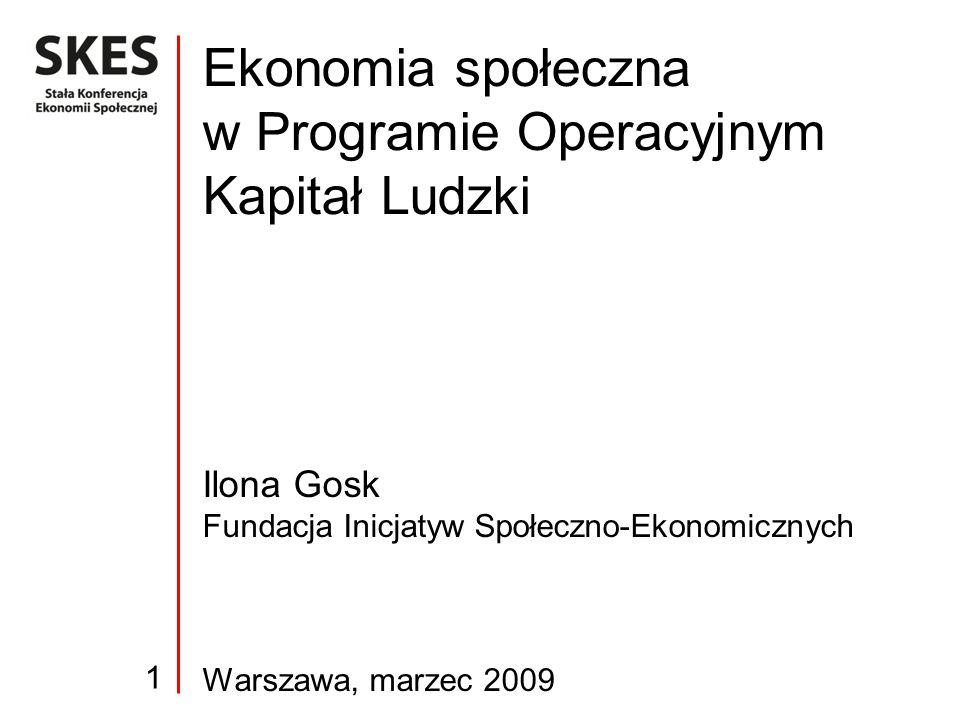 Ilona Gosk Fundacja Inicjatyw Społeczno-Ekonomicznych Warszawa, marzec 2009 Ekonomia społeczna w Programie Operacyjnym Kapitał Ludzki 1