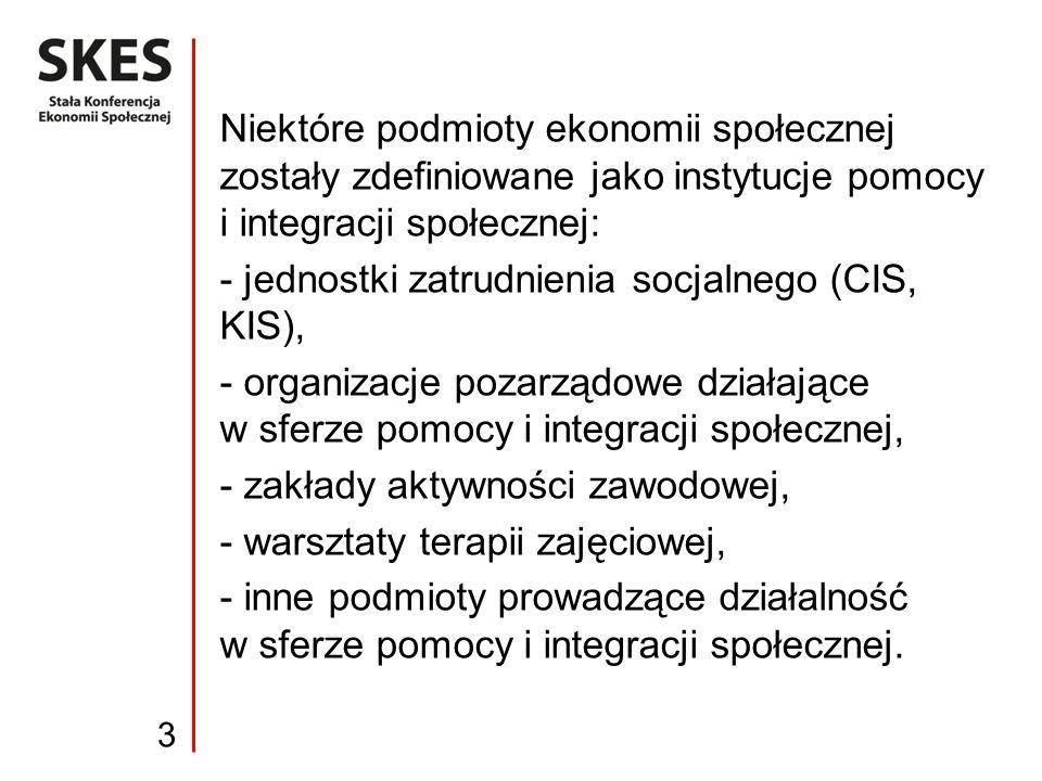 Niektóre podmioty ekonomii społecznej zostały zdefiniowane jako instytucje pomocy i integracji społecznej: - jednostki zatrudnienia socjalnego (CIS, K