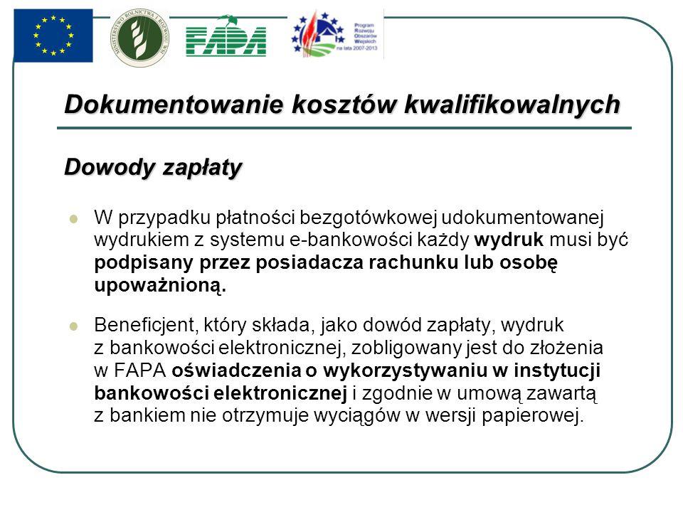 W przypadku płatności bezgotówkowej udokumentowanej wydrukiem z systemu e-bankowości każdy wydruk musi być podpisany przez posiadacza rachunku lub osobę upoważnioną.