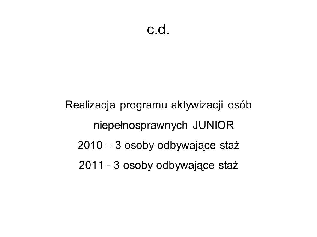 c.d. Realizacja programu aktywizacji osób niepełnosprawnych JUNIOR 2010 – 3 osoby odbywające staż 2011 - 3 osoby odbywające staż