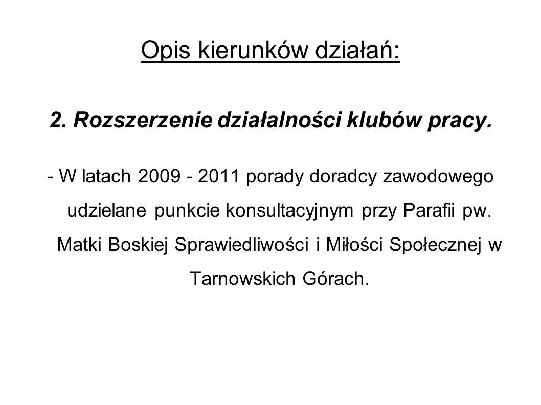 Opis kierunków działań: 2. Rozszerzenie działalności klubów pracy.