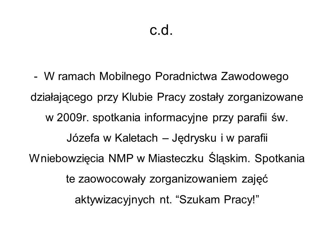 c.d. - W ramach Mobilnego Poradnictwa Zawodowego działającego przy Klubie Pracy zostały zorganizowane w 2009r. spotkania informacyjne przy parafii św.