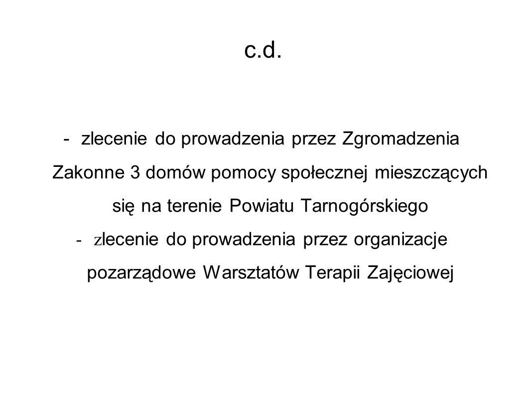 c.d. -zlecenie do prowadzenia przez Zgromadzenia Zakonne 3 domów pomocy społecznej mieszczących się na terenie Powiatu Tarnogórskiego -z lecenie do pr