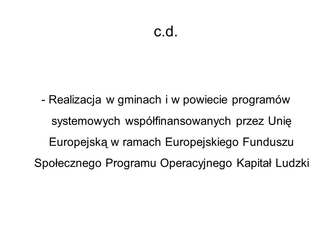 c.d. - Realizacja w gminach i w powiecie programów systemowych współfinansowanych przez Unię Europejską w ramach Europejskiego Funduszu Społecznego Pr