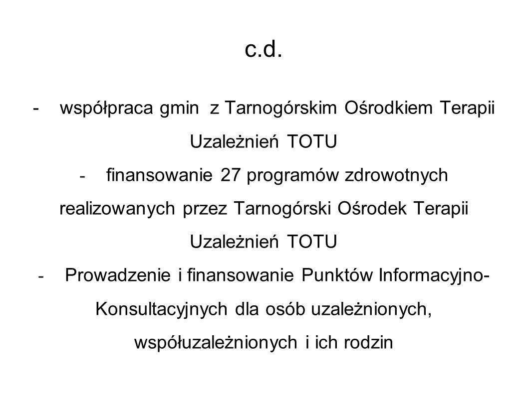 c.d. -współpraca gmin z Tarnogórskim Ośrodkiem Terapii Uzależnień TOTU - finansowanie 27 programów zdrowotnych realizowanych przez Tarnogórski Ośrodek