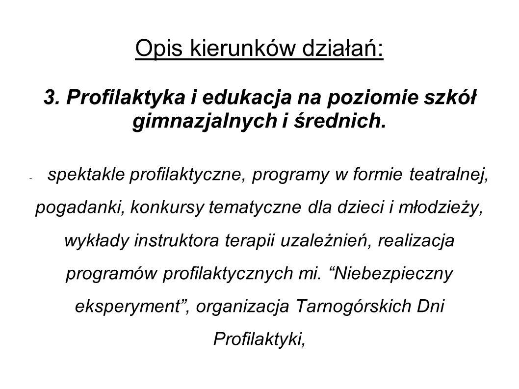 Opis kierunków działań: 3. Profilaktyka i edukacja na poziomie szkół gimnazjalnych i średnich.