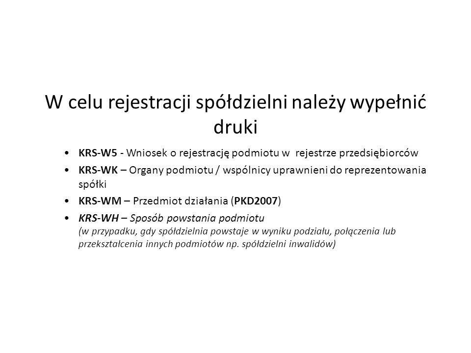 W celu rejestracji spółdzielni należy wypełnić druki KRS-W5 - Wniosek o rejestrację podmiotu w rejestrze przedsiębiorców KRS-WK – Organy podmiotu / ws