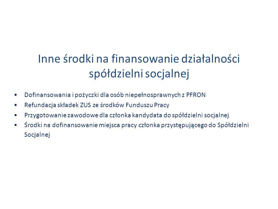 Inne środki na finansowanie działalności spółdzielni socjalnej Dofinansowania i pożyczki dla osób niepełnosprawnych z PFRON Refundacja składek ZUS ze środków Funduszu Pracy Przygotowanie zawodowe dla członka kandydata do spółdzielni socjalnej Środki na dofinansowanie miejsca pracy członka przystępującego do Spółdzielni Socjalnej