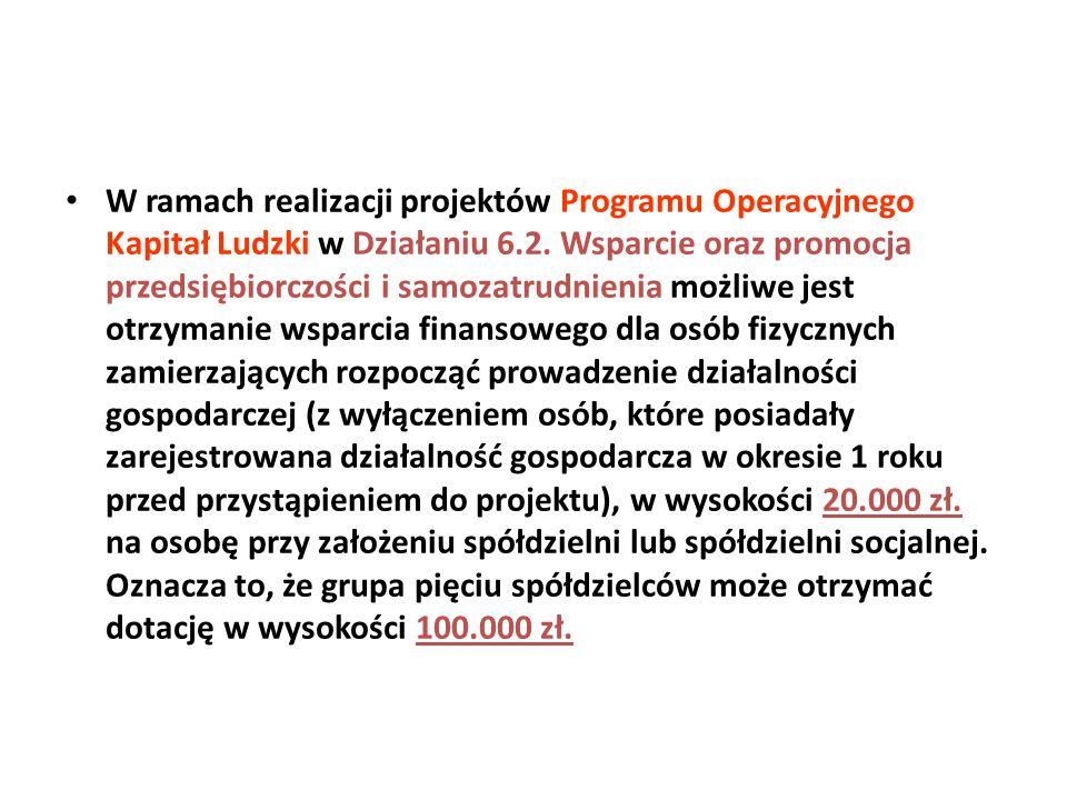 W ramach realizacji projektów Programu Operacyjnego Kapitał Ludzki w Działaniu 6.2. Wsparcie oraz promocja przedsiębiorczości i samozatrudnienia możli