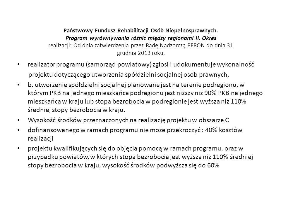 Państwowy Fundusz Rehabilitacji Osób Niepełnosprawnych. Program wyrównywania różnic między regionami II. Okres realizacji: Od dnia zatwierdzenia przez