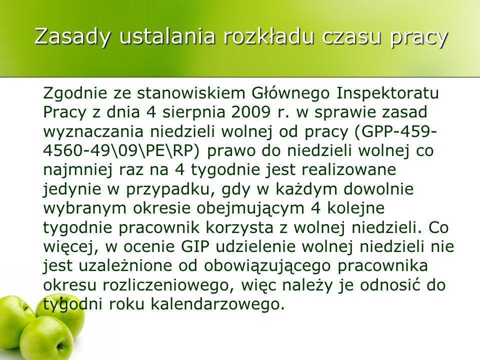 Zasady ustalania rozkładu czasu pracy Zgodnie ze stanowiskiem Głównego Inspektoratu Pracy z dnia 4 sierpnia 2009 r. w sprawie zasad wyznaczania niedzi