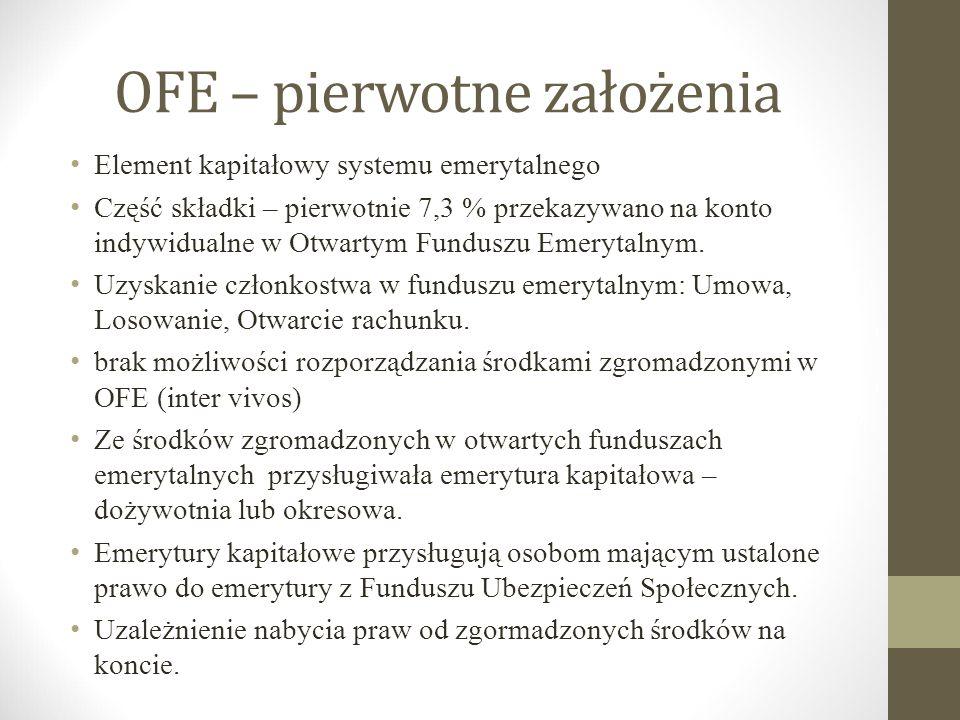 OFE – pierwotne założenia Element kapitałowy systemu emerytalnego Część składki – pierwotnie 7,3 % przekazywano na konto indywidualne w Otwartym Fundu