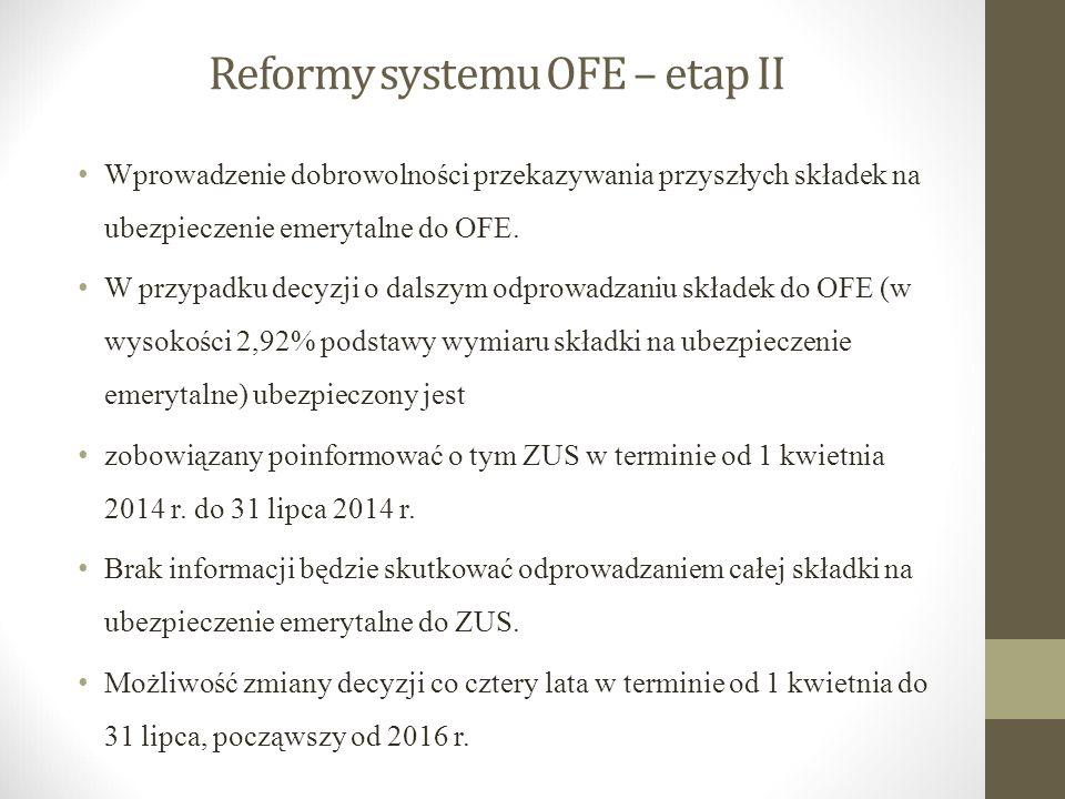 Reformy systemu OFE – etap II Wprowadzenie dobrowolności przekazywania przyszłych składek na ubezpieczenie emerytalne do OFE. W przypadku decyzji o da