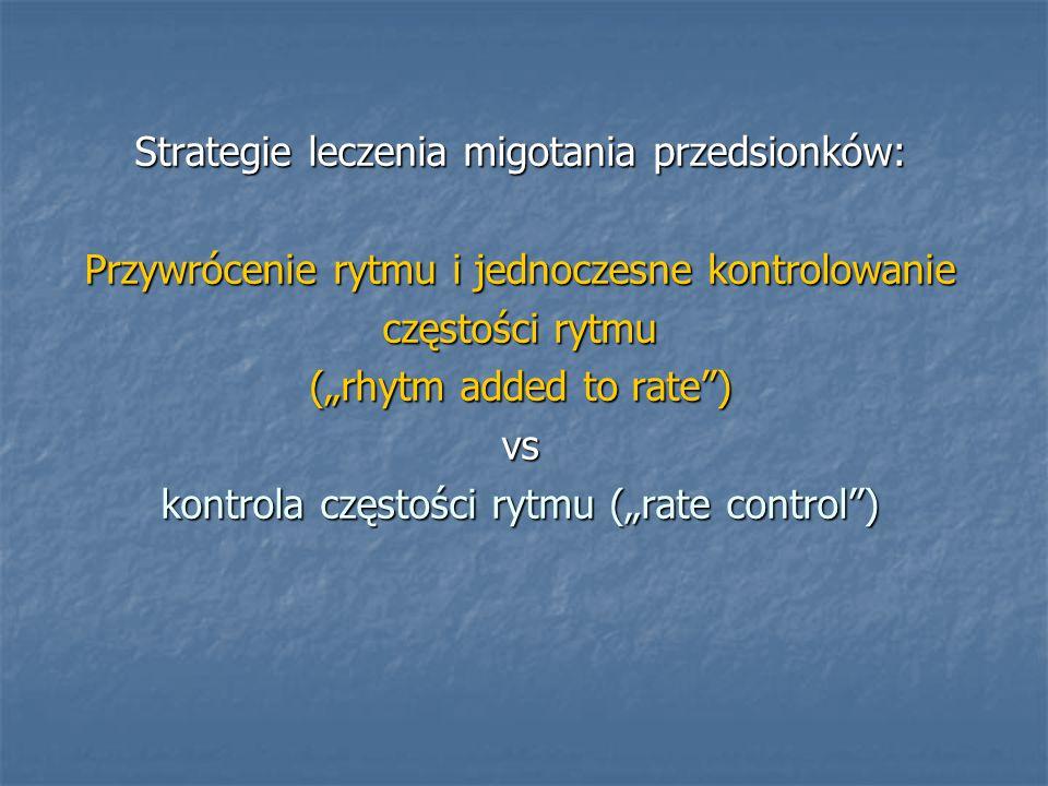 """Strategie leczenia migotania przedsionków: Przywrócenie rytmu i jednoczesne kontrolowanie częstości rytmu (""""rhytm added to rate"""") vs kontrola częstośc"""
