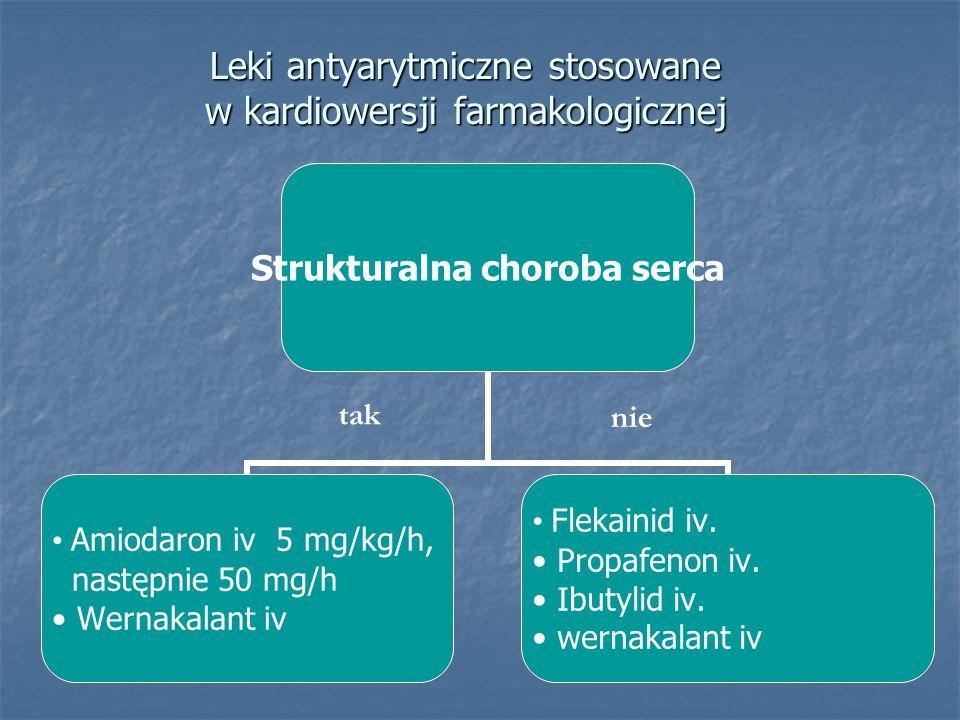 Leki antyarytmiczne stosowane w kardiowersji farmakologicznej Strukturalna choroba serca Amiodaron iv 5 mg/kg/h, następnie 50 mg/h Wernakalant iv Flekainid iv.