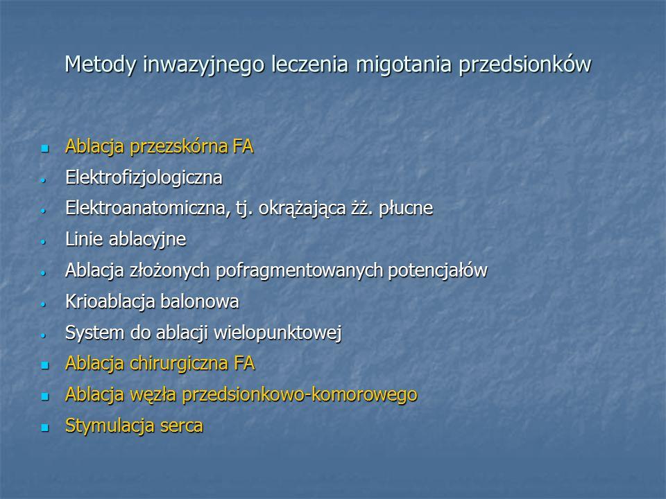 Metody inwazyjnego leczenia migotania przedsionków Ablacja przezskórna FA Ablacja przezskórna FA Elektrofizjologiczna Elektrofizjologiczna Elektroanatomiczna, tj.