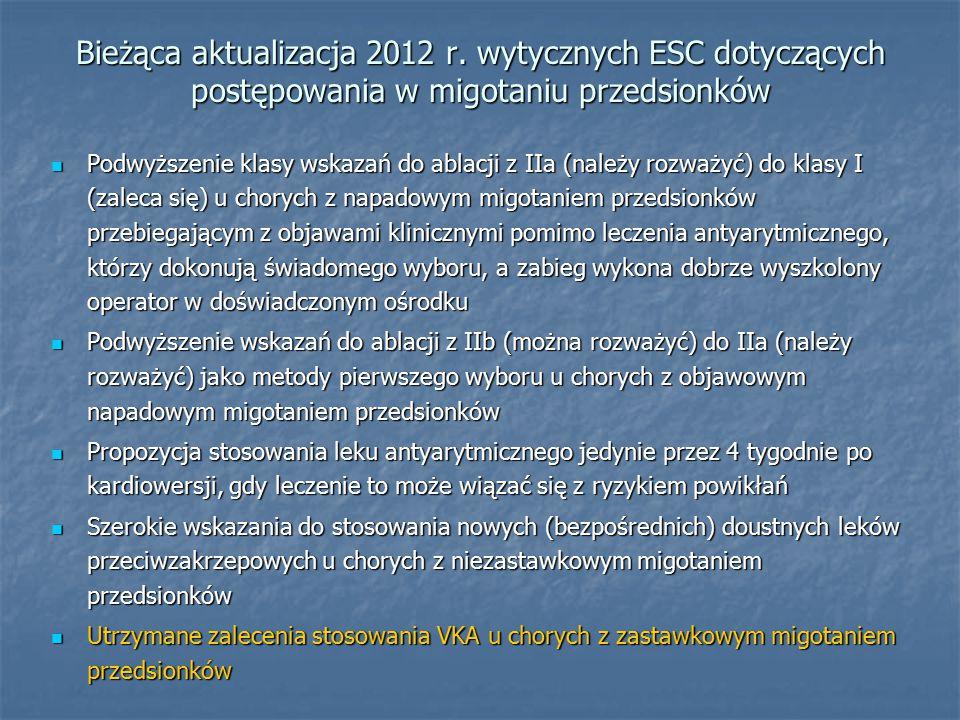 Bieżąca aktualizacja 2012 r. wytycznych ESC dotyczących postępowania w migotaniu przedsionków Podwyższenie klasy wskazań do ablacji z IIa (należy rozw