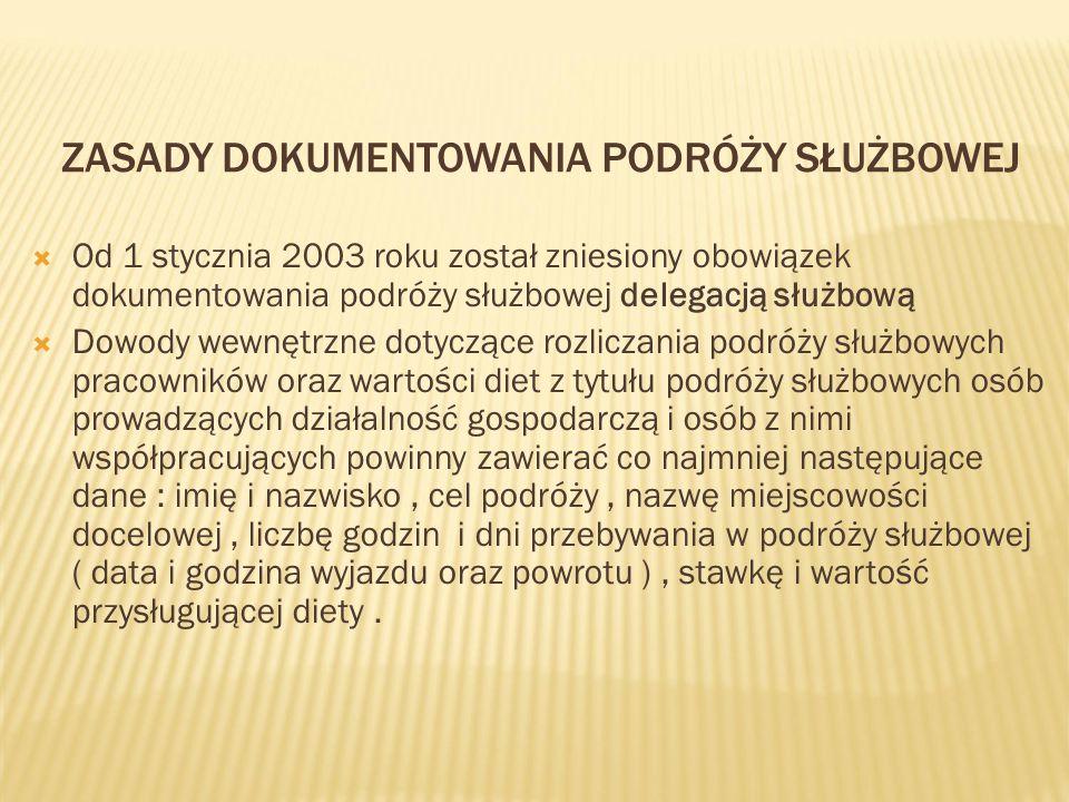 ZASADY DOKUMENTOWANIA PODRÓŻY SŁUŻBOWEJ  Od 1 stycznia 2003 roku został zniesiony obowiązek dokumentowania podróży służbowej delegacją służbową  Dow